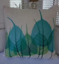 Teal & Green Leaves Cotton Blend Cushion Cover 45