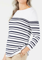 Karen Scott Women's Small Sweater White Blue Pullover Striped NEW #27