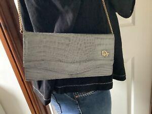 Vintage Dior Clutch Shoulder Bag Grey Snakeskin Design Gold Chain Strap 1980s