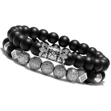 Luxury Men Silver Micro Pave CZ Ball Crown Bracelet Jewelry Matte Agate Bead Set