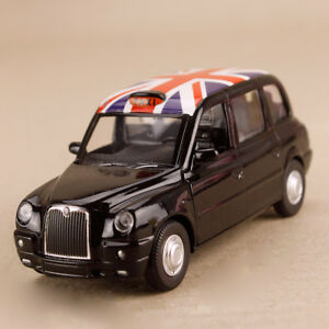 2012 Black London Taxi Geely Englon TX4 Union Jack 1:36 12cm Pull-Back Openable