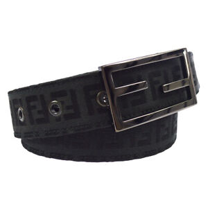 FENDI Zucca Pattern Buckle Belt Black Canvas 70/28 8C 0026 NYC Authentic 00343