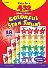 432 COLORATO STAR Smiles Scratch e sniffare Stinky ricompensa ADESIVI varietà Pack