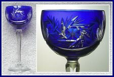 COBALT ROYAL BLUE Wine Glass Goblet Hock CUT TO CLEAR 24% Lead CRYSTAL GERMANY