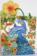 """PUNCH STUDIO BLUE PEACOCKS & HIBISCUS FLOWERS GIFT BAG.  9"""" by 8"""".  GORGEOUS!"""