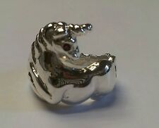 Sterling silver unicorn ring with ruby eye