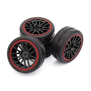 4pcs 12mm Hub Wheels Rubber Tyre Tires for 1/10 RC On-Road Touring Racing Cars