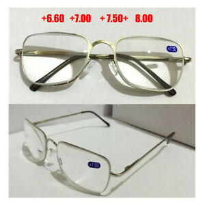Reading Glasses +6.5 +7.0 +7.5 +8.0 Optical Lens Strength Metal Frame Spectacles