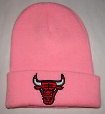 Chicago Bulls Pink Winter Ski Hat Skull