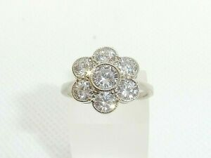 Ladies Sterling 925 Solid Silver 2.34 Carat Brilliant Cut White Sapphire Ring