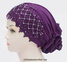 USA Seller: Snood Chemo Hat Cap, Cancer Hat,Hair Loss/Lace Snood Cap #4 Purple