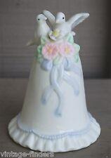 Vintage Elegant Porcelain Dove Bell w Flowers Wedding Topper Collectible