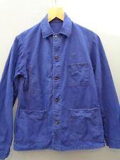Vtg French cotton indigo blue work chore hobo worker jacket