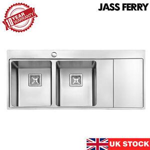 JASSFERRY New Premium 1.2mm Stainless Steel Kitchen Sink Double Bowl 1160x520mm
