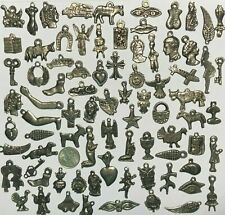 50 Milagros Dark Antique Old Silver Black Mexican Charms Wholesale lot