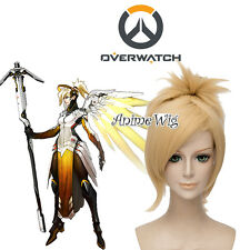 Overwatch Mercy Blonde Short Anime Cosplay Wig with 45CM Ponytail + Wig Cap