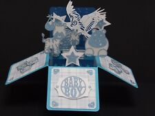 Handmade Luxury New Baby Boy Blue 3D Pop-Up Box Card