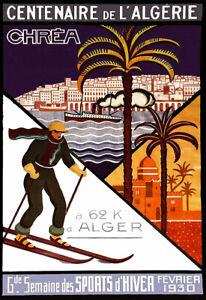 Travel Chréa  Centenaire de L'Algérie  Encadrée  Ski Art Poster Print