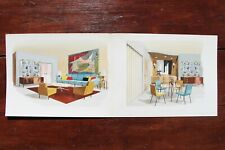 1960s French Interior Gouache Design Project depicting Two Living Rooms