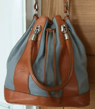 VALENTINA ITALY ~ TAN AND GREY LEATHER SHOULDER / HAND   BUCKET BAG   ** WOW **