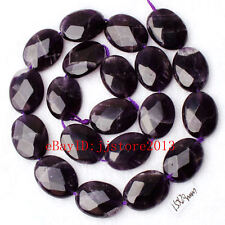 """15x20mm Natural Amethyst Faceted Oval Shape Gemstone Loose Beads Strand 15"""""""
