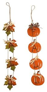 Leaves and Pumpkins Fall Wall Hangings Banners Ceramic Set of 2