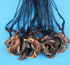 12 pcs Cute Brown Simulation bone carving dolphin tooth Pendant necklace