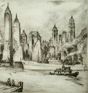 MANHATTAN SKYLINE Etching ~ NAT LOWELL ~ 1940s New York EAST RIVER SHIPPING