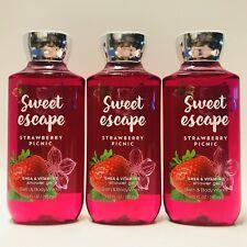 3 Bath & Body Works Sweet Escape Strawberry Picnic Shower Gel Wash 10 fl.oz New
