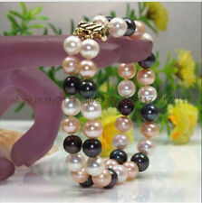 Perfect 2 Row 9-10mm south sea white black pink Pearl Bracelet 7.5 inch 14k