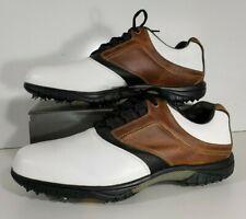 FootJoy Contour Men's Golf Shoes Saddle 15 Medium Wide White Brown Black Spikes