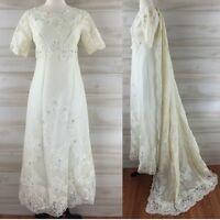Vintage 60s ivory lace short sleeve beaded wedding empire dress & veil S M