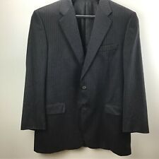 Hickey Freeman Mens Worsted Wool 2 Button Gray Striped Suit Coat Size 42R 42 R