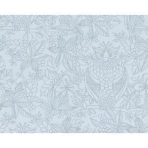 Belgravia Owl Pattern Floral Leaf Bird Motif Duck Egg Designer Wallpaper 9713-B