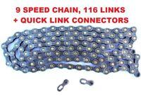 "9  SPEED 116 LINKS MOUNTAIN BIKE / ROAD BIKE NARROW  CHAIN, KMC ""TEP"" BRAND"