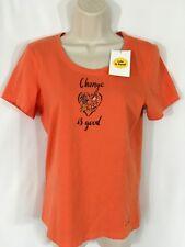 NEW Life Is Good Women's Orange Change is Good Classic Fit Crusher T-Shirt XS