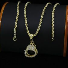"""Mens Gold Plated Hip-Hop Handcuffs Iced Cz Pendant 24"""" Rope Chain Necklace F49"""