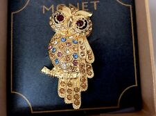 Monet Rhinestone Owl Bird Figural Brooch Pin Gold Tone