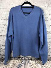 John Ashford V-Neck 100% Cashmere Sweater Men's Size XL Dove Blue