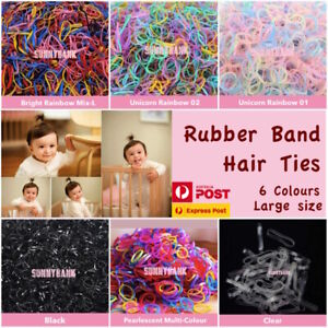 400+pcs Large Colorful Ponytail Holder Elastic Rubber Band Hair Ties Ropes Rings