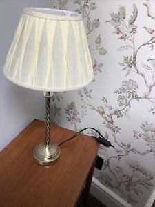GORGEOUS LAURA ASHLEY BRUSHED BRASS LAMP BASE AND LAURA ASHLEY LIGHT SHADE VGC