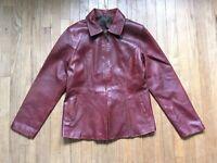 Vintage Red Leather Jacket Women's Jacket Size 42 Zip Up