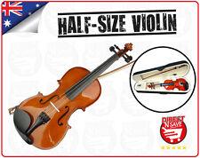 Violin 1/2 Half Size Natural Wooden Set Bow Rosin Strings Case Student VL1200