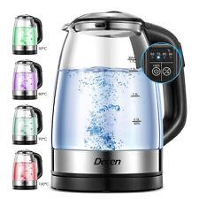 Edelstahl Glas Wasserkocher Mit Temperaturwahl 2200W 1,7 Liter LED Beleuchtung