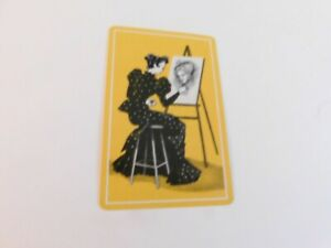 vintage playing card lady painting a portrait yellow  /linen