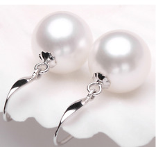 A PAIR 10-11MM SOUTH SEA WHITE PEARL EARRING