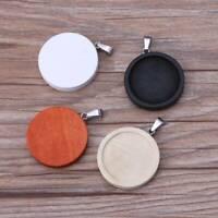 DIY Round Wood Frame Necklace Pendant Open Bezel Cabochon Setting UV Resin Charm