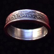 SILVER COIN RING CANADA GEORGE V MAPLE LEAF DESIGN,  SIZE 9 or sized to fit.
