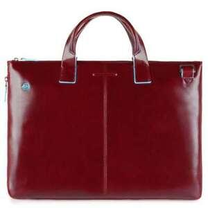 Bolsa Piquadro Azul Cuadrado Cartera Piel Rojo Expandible - CA4021B2-R