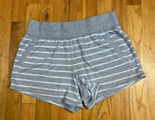 Athletic Works Women's French Terry Gym Shorts Size Small (4-6) Lt Gray Stripe